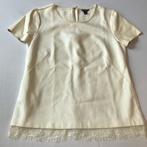 ANN TAYLOR PETITE CREAM TOP LACE & LEATHER SIZE MP